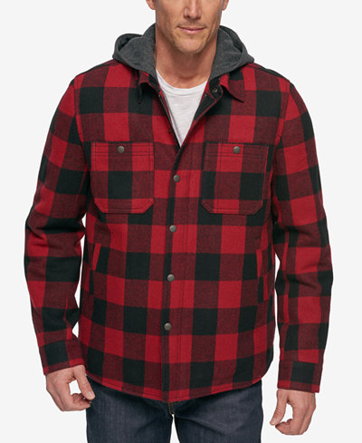 G.H. Bass & Co. Men's Buffalo Plaid Hooded Shirt Jacket