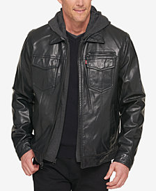 Levi's® Men's Faux Leather Trucker Jacket with Bib & Hood