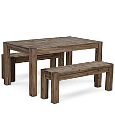 "Canyon Small 3-Pc. Dining Set, (60"" Dining Table & 2 Benches), Created for Macy's"