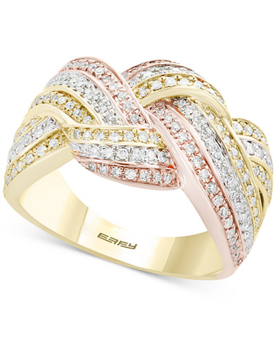 Trio by EFFY® Diamond Knot Ring (5/8 ct. t.w.) in 14k Gold, White Gold & Rose Gold