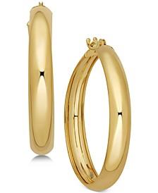 Polished Flex Hoop Earrings in 10k Gold, 1 inch