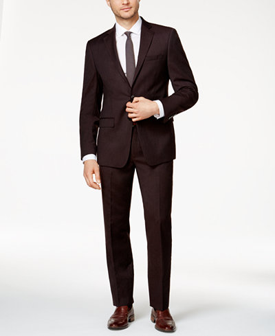 Calvin Klein Men's Slim-Fit Burgundy Flannel Suit