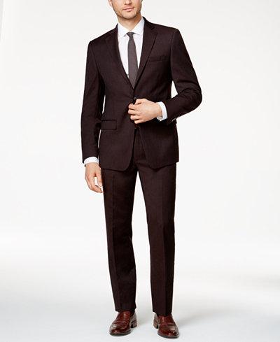 Calvin Klein Men's Slim-Fit Burgundy Flannel Suit - Suits & Suit ...