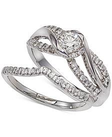 Diamond Twist Interlocking Bridal Set (1/2 ct. t.w.) in 14k White Gold