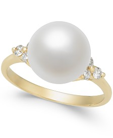Cultured Freshwater Pearl (10mm) & Diamond (1/4 ct. t.w.) Ring in 14k Gold and White Gold