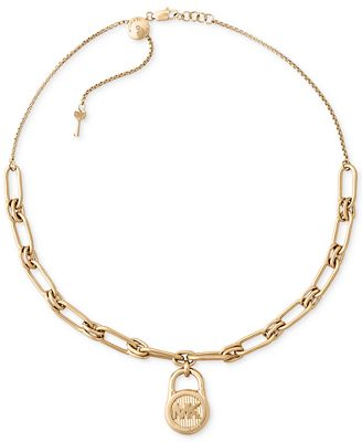 Michael Kors Gold-Tone Stainless Steel Padlock Charm Collar Necklace