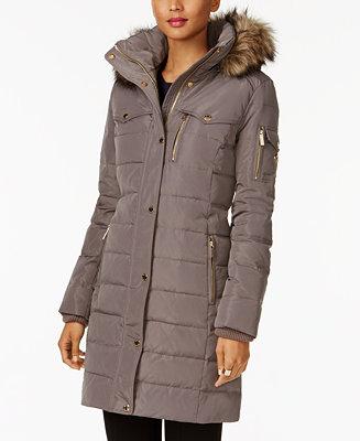 Michael Kors Faux Fur Trim Down Puffer Coat Amp Reviews