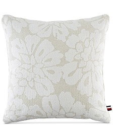 "Tommy Hilfiger Broadmoor Cotton Floral 20"" Square Decorative Pillow"