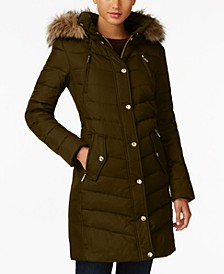 Faux-Fur-Trim Hooded Chevron Down Puffer Coat, Created for Macy's