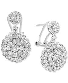 Rock Candy by EFFY® Diamond Cluster Drop Earrings (2-1/10 ct. t.w.) in 14k White Gold