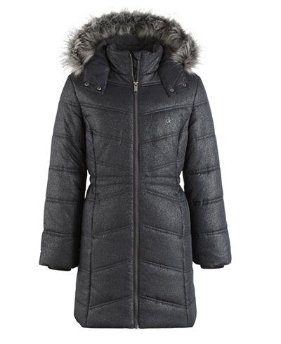Calvin Klein Everest Puffer Jacket with Faux-Fur Trim, Big Girls ...