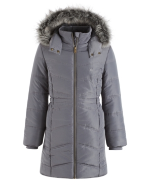 Calvin Klein Everest Puffer Jacket with FauxFur Trim Big Girls (716)