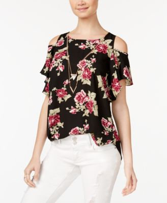 Image of BCX Juniors' Printed Cold-Shoulder Top With Necklace