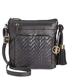 Giani Bernini Leather Pebble Weave Crossbody, Created for Macy's