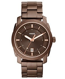 Fossil Men's Machine Brown Stainless Steel Bracelet Watch 42mm