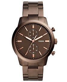 Fossil Men's Chronograph Townsman Brown Stainless Steel Bracelet Watch 44mm