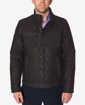 Perry Ellis Men's Black Quilted Faux Leather Jacket 4862507