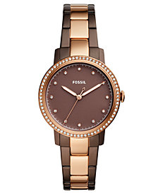 Fossil Women's Neely Brown & Rose Gold-Tone Stainless Steel Bracelet Watch 35mm