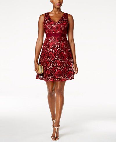 Adrianna Papell Petite Floral-Lace Dress