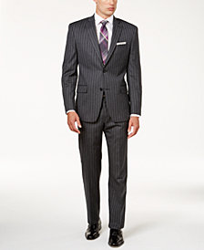 MICHAEL Michael Kors Men's Classic-Fit Charcoal Wide Pinstripe Suit