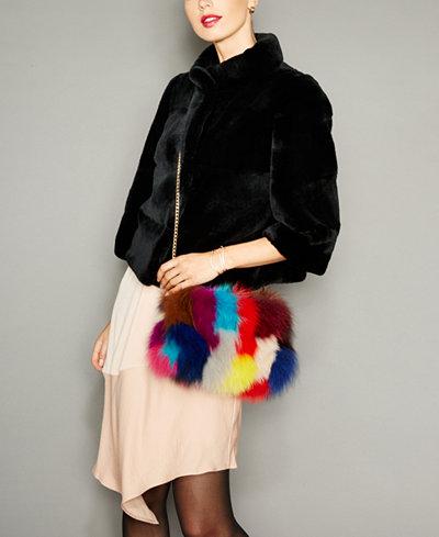 The Fur Vault Fox Fur Muff Handbag