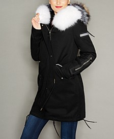 Fox-Trim Rabbit Fur-Lined Parka