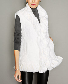 The Fur Vault Knitted Rex Rabbit Fur Vest