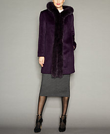 Fox-Fur-Trim Hooded Alpaca-Blend Coat