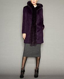 Fox-Fur-Trim Hooded Alpaca-Blend Coat