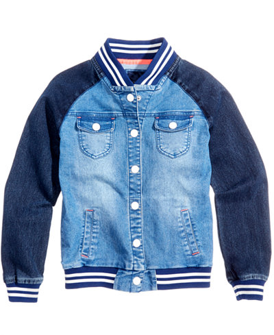 tommy hilfiger denim baseball bomber jacket big girls. Black Bedroom Furniture Sets. Home Design Ideas