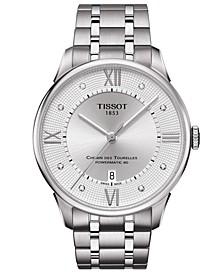 Men's Swiss Automatic Chemin De Tourelle Diamond-Accent Stainless Steel Bracelet Watch 42mm