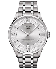 Tissot Men's Swiss Automatic Chemin De Tourelle Diamond-Accent Stainless Steel Bracelet Watch 32mm
