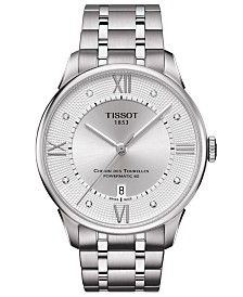 Tissot Men's Swiss Automatic Chemin De Tourelle Diamond-Accent Stainless Steel Bracelet Watch 42mm
