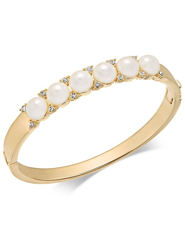 Charter Club Gold-Tone Pavé & Imitation Pearl Hinged Bangle Bracelet, Created for Macy's