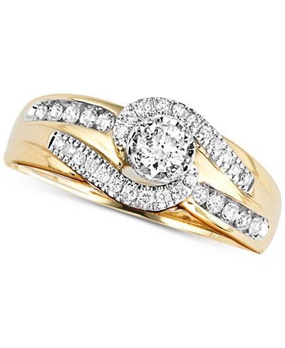 diamond swirl engagement ring 12 ct tw in 14k gold macys - Macys Wedding Rings