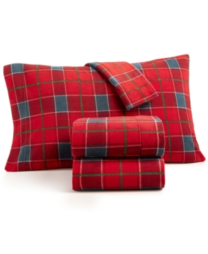 Martha Stewart Collection 4Pc Plaid Fleece Full Sheet Set Created for Macys