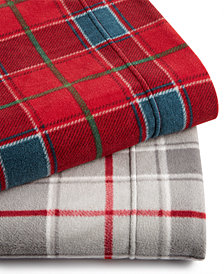 Martha Stewart Collection Plaid Fleece Sheet Sets, Created for Macy's