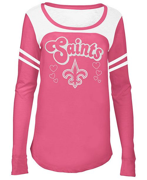 info for 6bdda dc4fa 5th & Ocean New Orleans Saints Pink Slub Long Sleeve T-Shirt ...