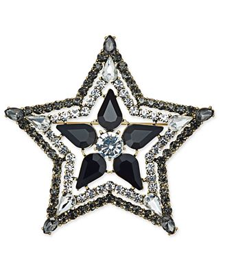 Anna Sui x I.N.C. Silver-Tone Stone & Crystal Star Pin, Created for Macy's