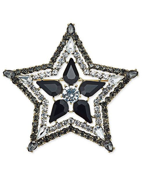 INC International Concepts Anna Sui x I.N.C. Silver-Tone Stone & Crystal Star Pin, Created for Macy's