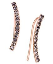 INC International Concepts Rose Gold-Tone Hematite Pavé Ear Crawler Earrings, Created for Macy's