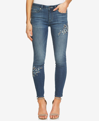 CeCe Floral-Embroidered Skinny Jeans