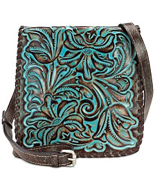 Patricia Nash Granada Turquoise Tooled Leather Crossbody