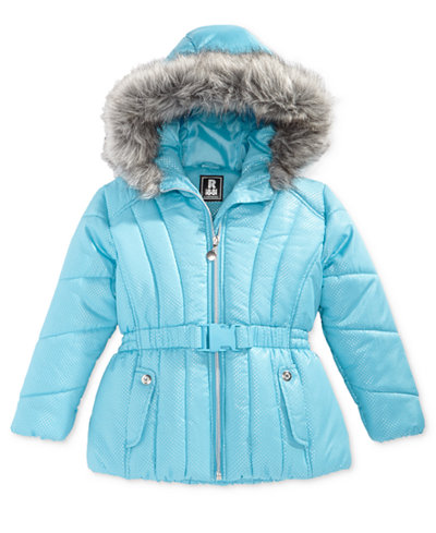 S Rothschild Foil Dot Belted Puffer Jacket With Faux Fur Trim Little Girls Coats