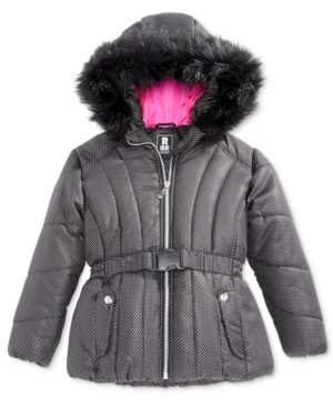 S Rothschild FoilDot Belted Puffer Jacket with FauxFur Trim Little Girls (46X)
