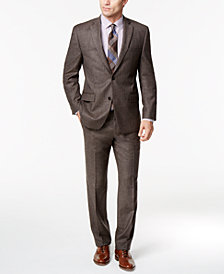 Michael Kors Men's Classic-Fit Chocolate Brown Birdseye Flannel Suit