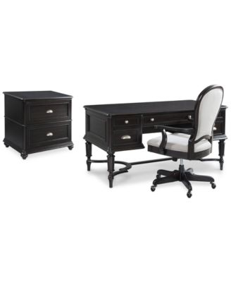 Clinton Hill Ebony Home Office Furniture Set, 3-Pc. Set (Writing Desk, Lateral File Cabinet & Desk Chair), Created for Macy's