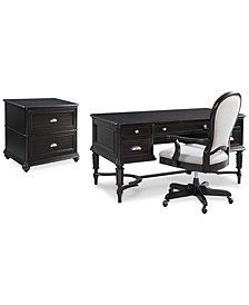 Clinton Hill Ebony Home Office Set, 3-Pc. Set (Writing Desk, Lateral File Cabinet & Upholstered Desk Chair), Created for Macy's
