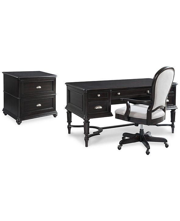 Furniture Clinton Hill Ebony Home Office Furniture Set, 3-Pc. Set (Writing Desk, Lateral File Cabinet & Upholstered Desk Chair), Created for Macy's