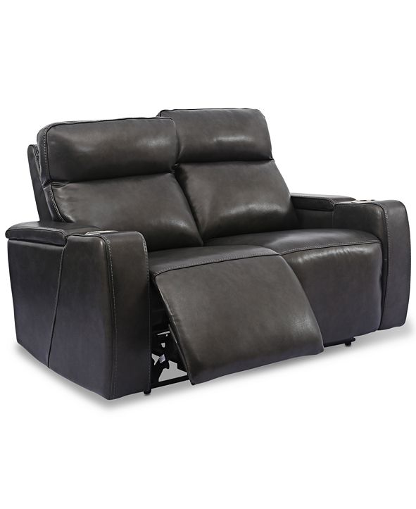 "Furniture Oaklyn 61"" Leather Loveseat With Power Recliners, Power Headrests and USB Power Outlet"